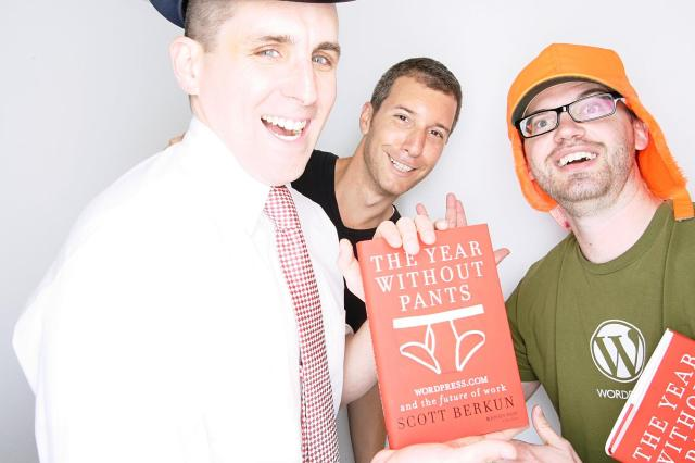 Scott, Raanan, and me at The Year Without Pants launch party photobooth
